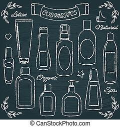 Chalkboard cosmetic bottles set 1