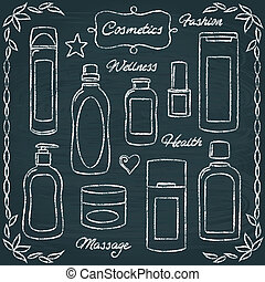 Chalkboard cosmetic bottles set 2
