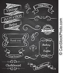 Chalkboard vintage elements and frames