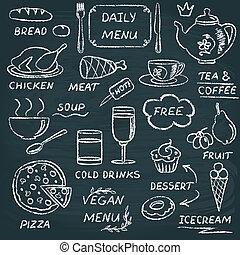 Chalkboard menu elements set 3