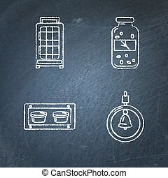 Chalkboard set of accessories for bird in cage