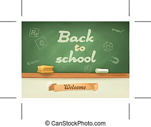 Chalkboard with sign back to school