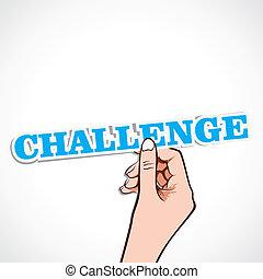 challenge word in hand stock vector