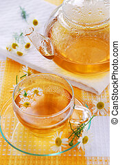 Teacup and teapot with soothing chamomile tea