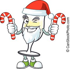 Champagne glass Cartoon character in Santa Claus with candy