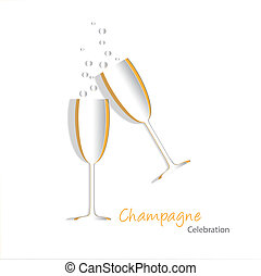 Paper cutouts of champagne glasses with bubbles. EPS10 vector format with blends, simple gradients and transparencies.