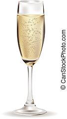 Glass of Champagne illustration over white background.