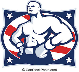 Illustration of a champion American boxer hands on hip viewed from front set inside oval with stars and stripes done in retro style.