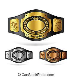 Three champion belts vector illustration