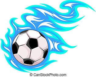 Championship soccer ball or football leaving a blue trail as it speeds through the air, vector cartoon illustration on white