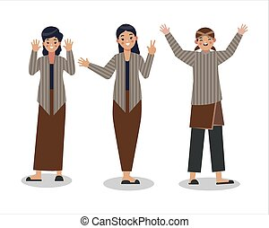 character wearing javanese traditional clothes.