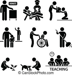 A set of pictogram representing charity, donations, and volunteers.