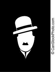 Charles Chaplin comedy vector monochrome symbol