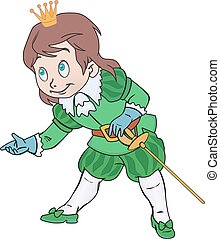 Charming prince boy with a sword and a crown