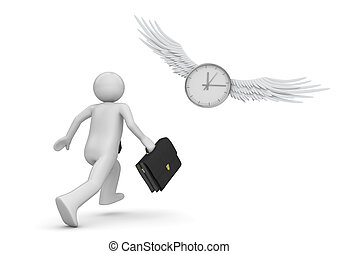 Chase the time (3d isolated characters, businessmen, business concepts series)
