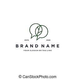 chat leaf logo design vector