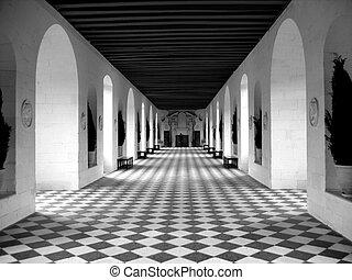 B&W photo of a beautiful checkerboard floor - nice diagonal lines