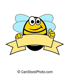 Cheerful bee with thumb up