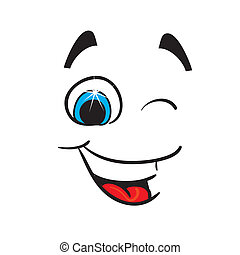 Cheerful caricature on a white background. Vector
