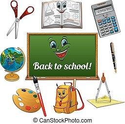 Cheerful cartoon school supplies with blackboard