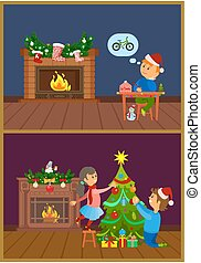 Cheerful Children near Decorated Fireplace Vector