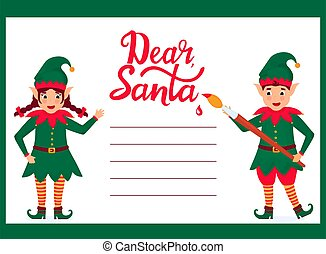 Cheerful elves write a letter to Santa Claus