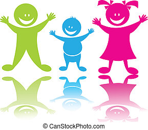 Cheerful happy children boys and girl in color, vector art