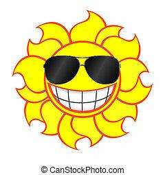 smiling sun wearing sunglasses