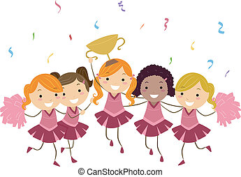 Illustration of Cheerleaders Showing Their Trophy