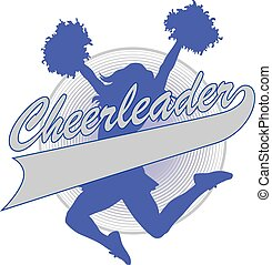 Illustration of a cheer design for cheerleaders. Includes a jumping cheerleader, megaphone and a banner for your name, school name or other text.