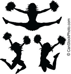 Illustration of a cheerleader jumping and cheering. There are three poses in silhouette.