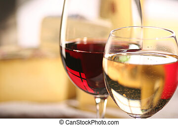 cheese and two glasses of wine