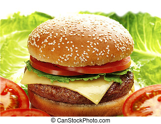 cheese burger served with lettuce and tomato