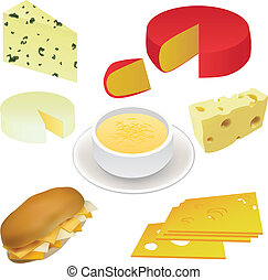 cheese set - swiss cheese, edam cheese, sandwich, cheese soup etc