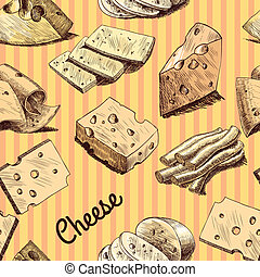 Cheese slices chunks and blocks food assortment sketch seamless wallpaper vector illustration