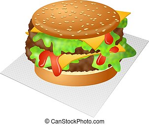 Tasty double cheeseburger with lettuce and tomato sauce.