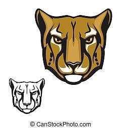 Cheetah or guepard animal head mascot