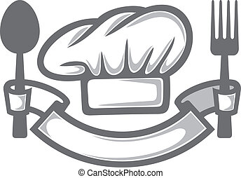 chef hat, fork and spoon (food icon, food symbol, restaurant label, restaurant symbol)
