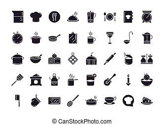 chef kitchen utensils icons collection hat fork knife clock pot saucepan ladle jar bowl