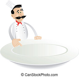 Illustration of a cartoon chef cook holding plate for showing today's menu