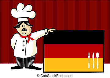 Chef of german cuisine. Food, restaurant, menu design with cutlery silhouette on the country flag. Striped red background. Vector available