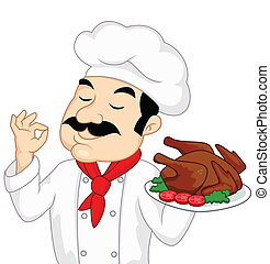 Chef with chicken or turkey roasted