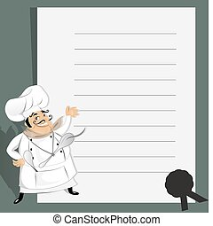 Vector illustration of a cute chef with menu