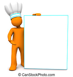 Orange cartoon character as chef with white signboard. White background.