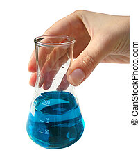 Laborant's hand holding flask with blue fluid