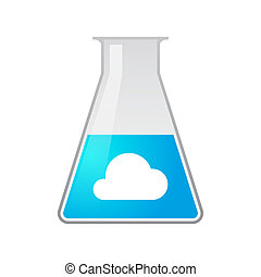 Illustration of a chemical test tube with a cloud