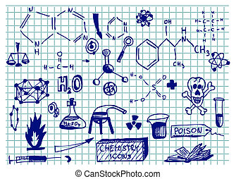 chemistry icons isolated on the school blue paper