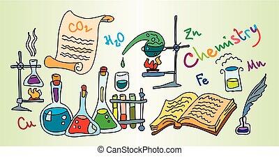Chemistry Lab. Color bright decorative background vector illustration.