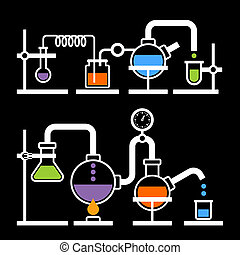 Chemistry Laboratory Infographic with Some Reaction on Black Background. Vector