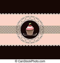 Cherry cupcake invitation card pink brown background